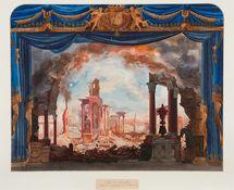 Le Siège de Corinthe, 1826, Auguste Caron d'après Cicéri © BnF Bibliothèque - musée de l'Opéra de Paris.