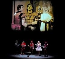 De gauche à droite : Benjamin Biolay (Ottone), Carl Barât (Nero), Achilles 'AC' Charrington (soldat), Anna Madison (Drusilla), Marcus 'Matic Mouth' Smith (Soldat) © Marie-Noëlle Robert/Théâtre du Châtelet.