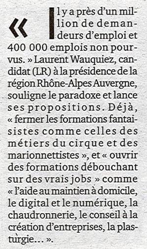 """Extrait de l'article publié le 13 novembre 2015 dans le quotidien """"Le Progrès""""."""