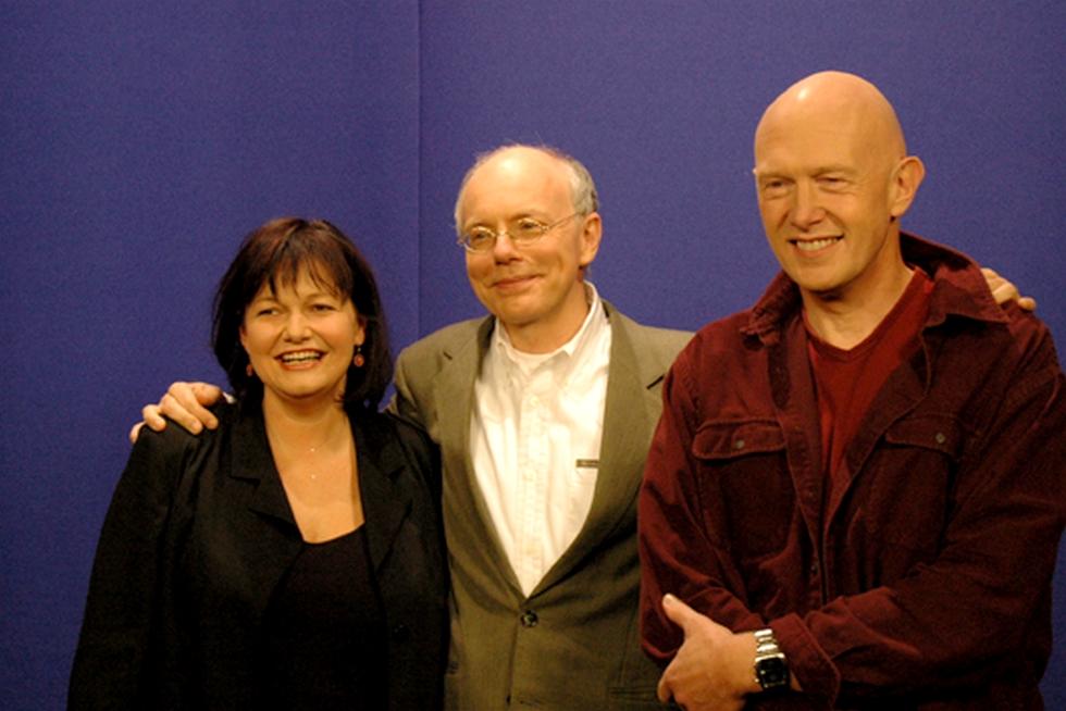 Maurane, Charles Loos et Steve Houben dans les locaux du label Igloo Records © Igloo.