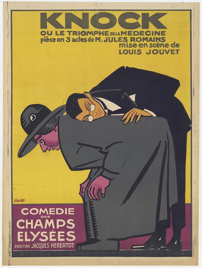 """""""Knock ou le triomphe de la médecine"""" de Jules Romains. Mise en scène de Louis Jouvet. Lithographie de Bernard Bécan, 1923 © BnF, département de la Musique, Bibliothèque-musée de l'Opéra."""