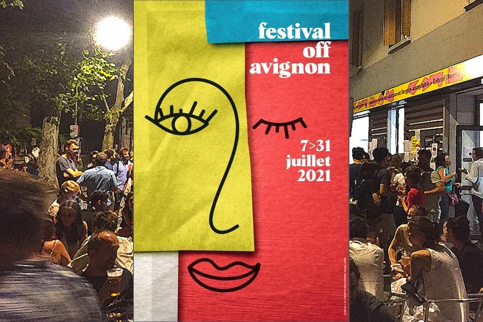 Arrière-plan : Le 11 • Avignon, l'un des lieux emblématiques du Off, une soirée en 2018 © Le 11 • Avignon. Affiche © AF&C.